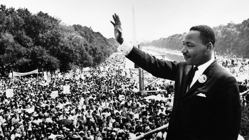 Martin Luther King tijdens zijn speech in Washington.