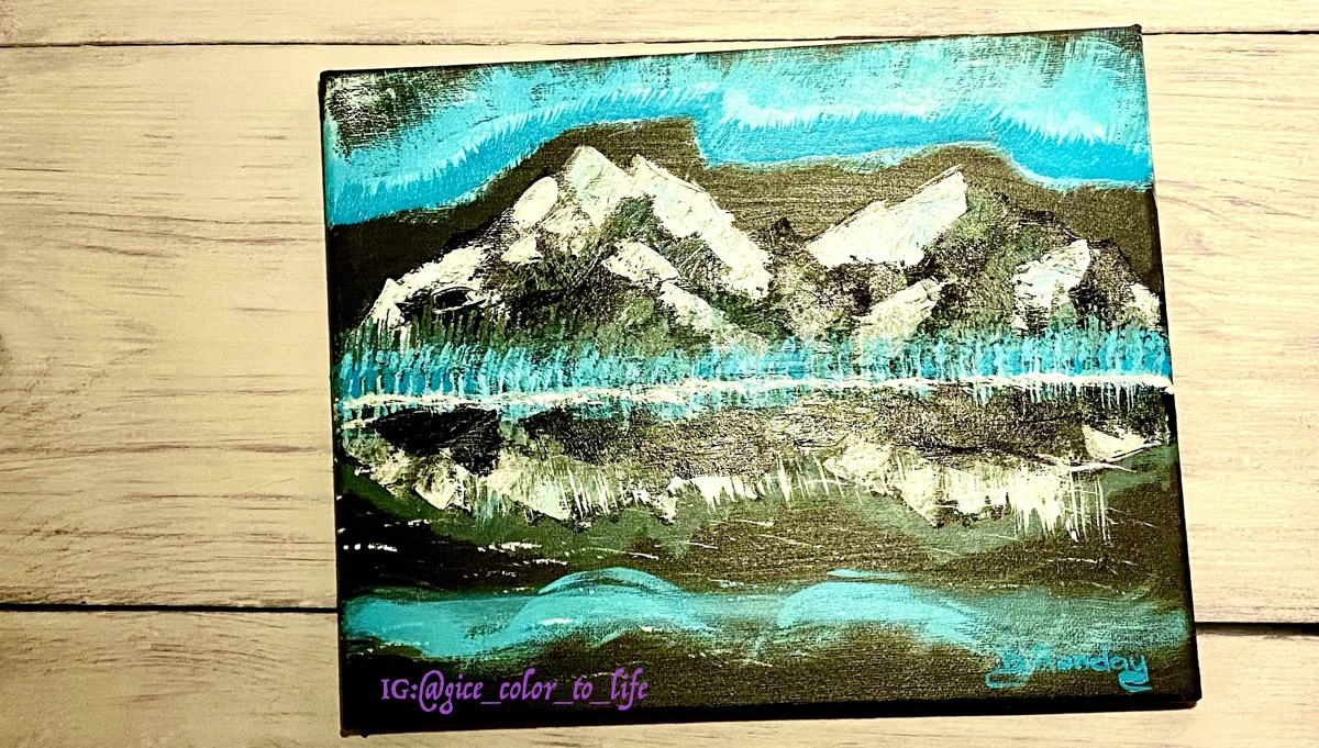 Abstract mountains with aurora
