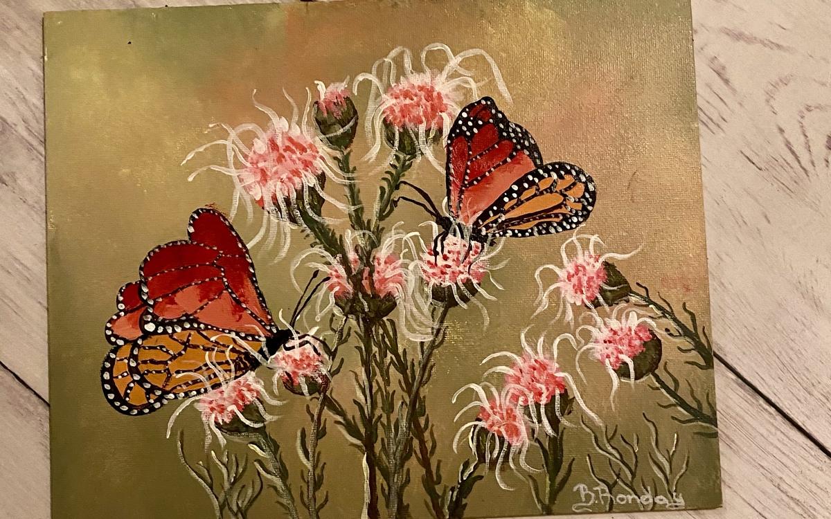 Schilderij vlinders acryl
