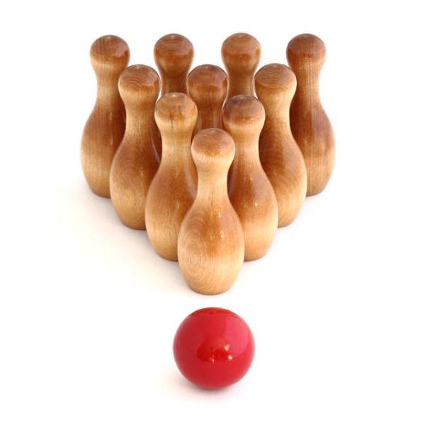 montessori bowling wood game