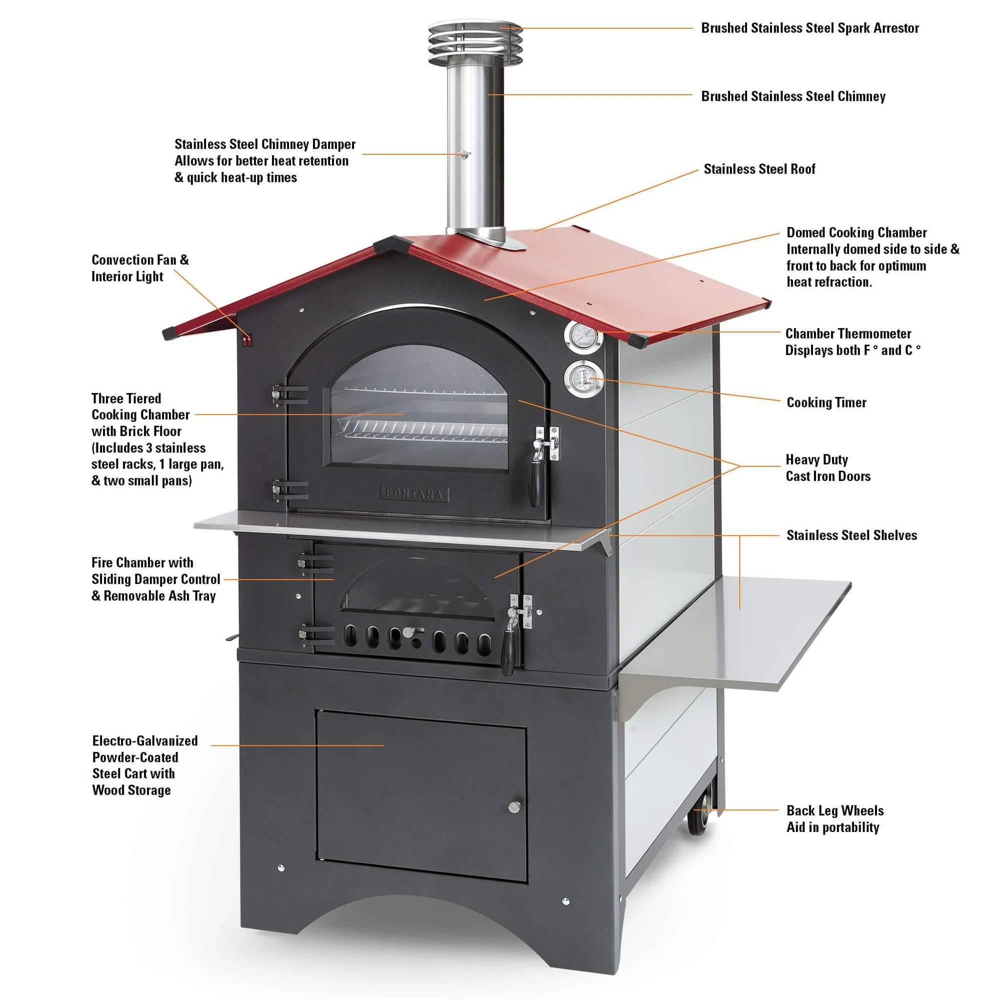 rosso outdoor wood fired pizza oven