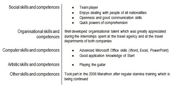 computer skills and competences cv examples