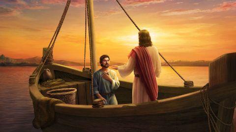 Gesù e Pietro stanno parlando sulla barca