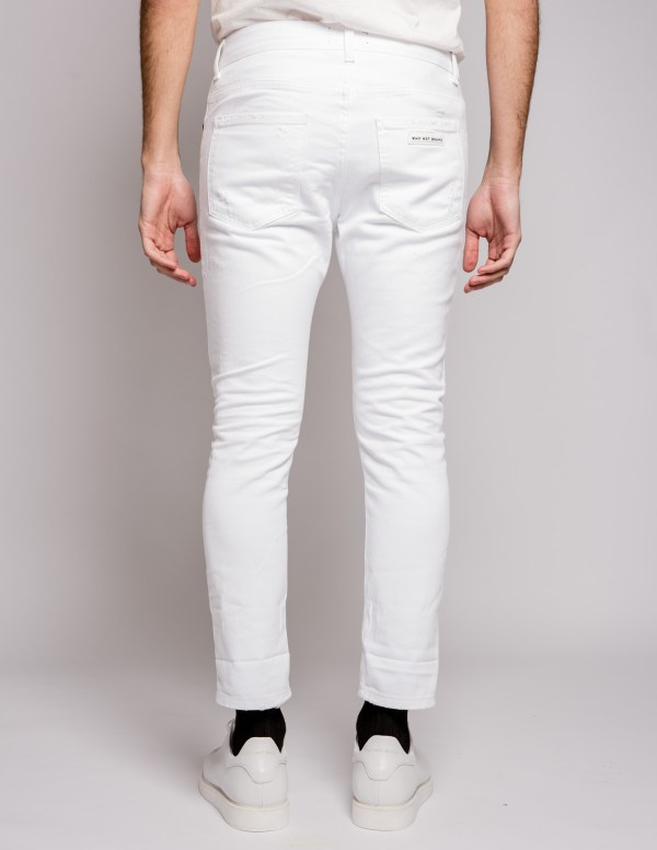WHY NOT - Jeans rotture sfrangiato bianco