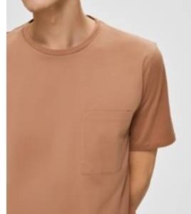 SELECTED - T shirt in cotone taschino cammello