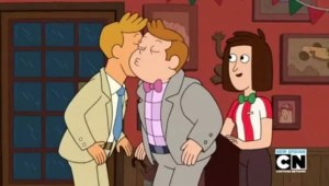 Homosexual male company in cartoon Clarence