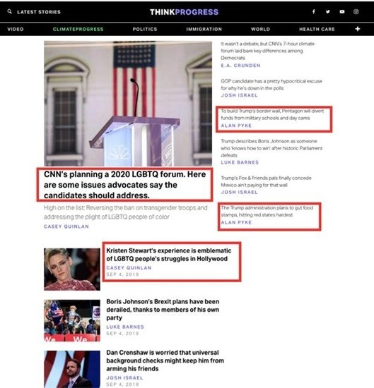 Front page of ThinkProgress