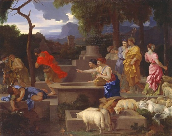 Moses defending the daughters of Jethro - Sebastien Bourdon (about 1650)