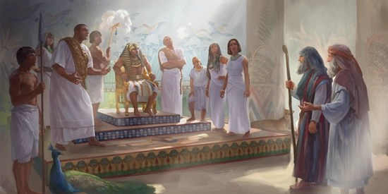 Moses and Aaron address Pharaoh - Jehovah's Witness library