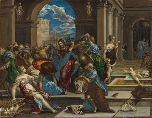 Christ cleansing the Temple - El Greco (about 1570)