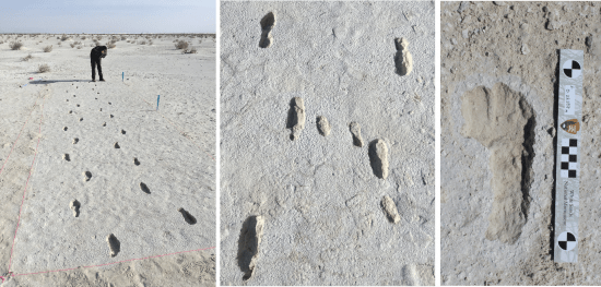 Footprints of woman and child