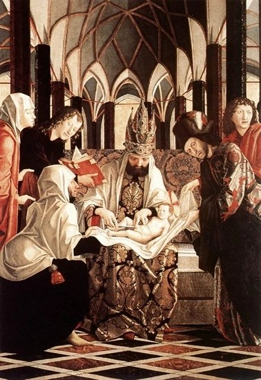Michael Pacher - St. Wolfgang altar piece - circumcision according to ancient Jewish law