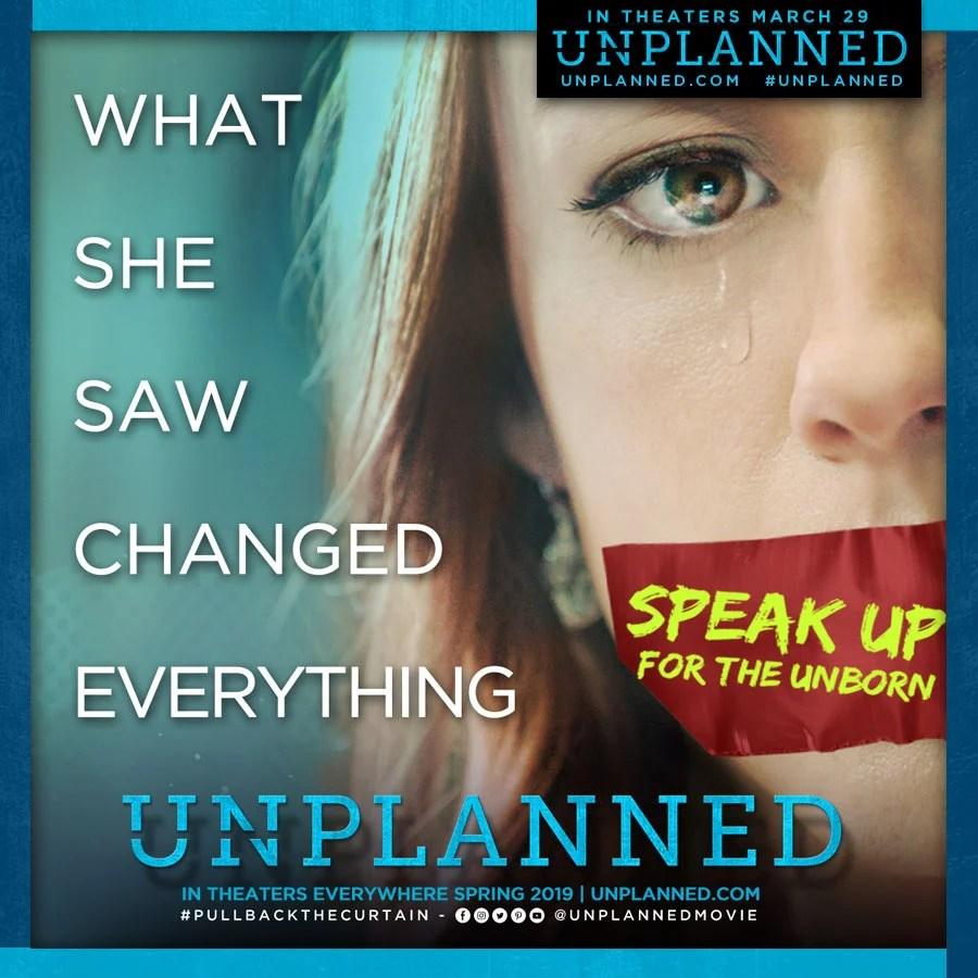 Flyer for anti-abortion movie Unplanned