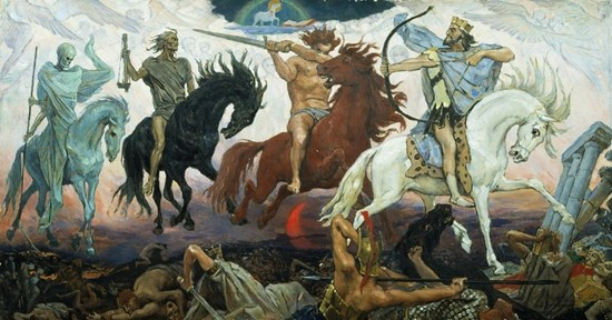 Four Horsemen of the Apocalypse - Death, Famine, War and Conquest, an 1887 painting by Viktor Vasnetsov