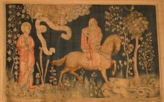he third horseman, Famine on the Black Horse as depicted in the Angers Apocalypse Tapestry (1372-82)