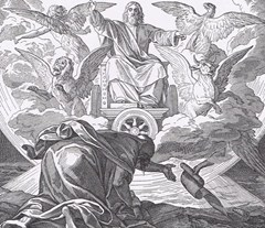 Traditional depiction of the cherubim and chariot vision as described by the prophet Ezekiel