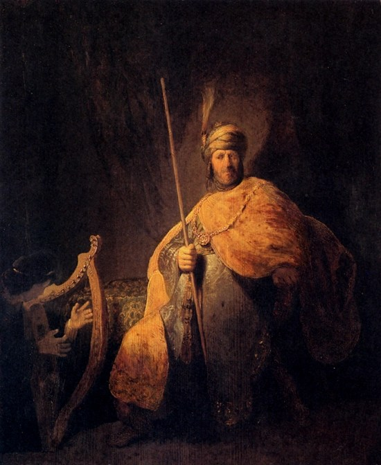 David Playing the Harp to Saul - Rembrandt (1629)