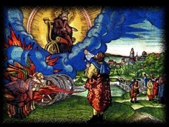 Colored woodcut illustration of Ezekiel's vision by Lucas Cranach for the Luther Bible