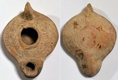 Ancient oil lamp - top and base (note depression in base for lampstand)