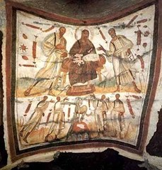 Bearded Jesus between Peter and Paul, Catacombs of Marcellinus and Peter, Rome. Circa 300 AD