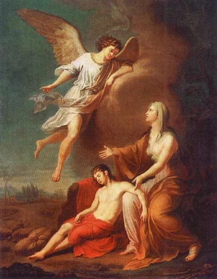 An angel appears before Hagar and Ishmael during a fearful time