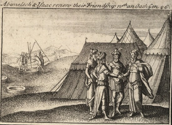 Etching from about 1650 depicting Abraham and Abimelech