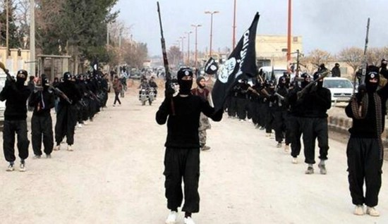 ISIS/ISIL terrorists marching with their flag