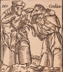 Cover of Lupus excoriatus (the wolf stripped of its skin), printed in 1591. 'Calvinist wolves of discord' dressed in monks' habits and devouring a sheep labelled 'concordia'. The sheep represents the Concordia Wittenbergensis..