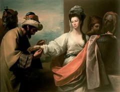 Abraham's servant giving gifts to Rebekah