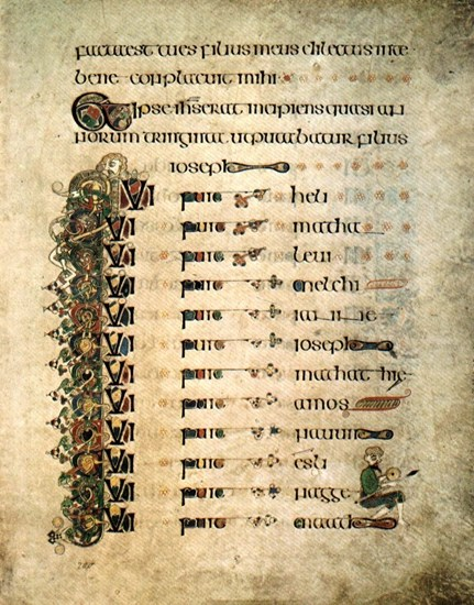 Luke's genealogy of Jesus, from the Book of Kells, transcribed by Celtic monks c. 800