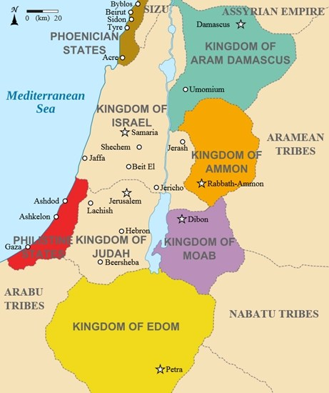 Map showing the Middle East region around 830 BCE