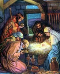 Wise Men worship baby Jesus