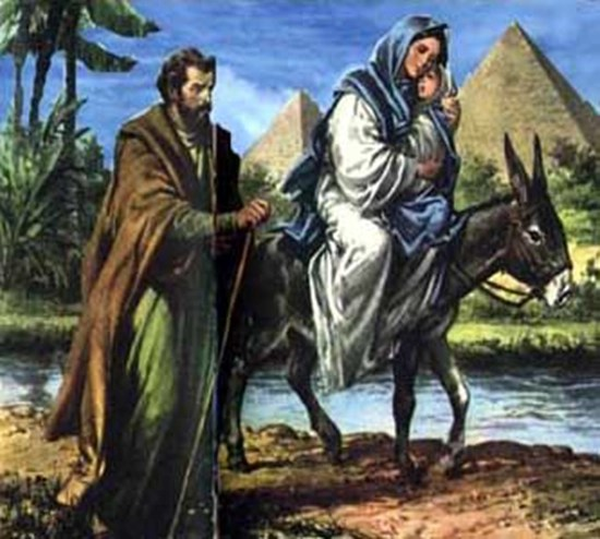 Joseph, Mary, and Jesus flee to Egypt