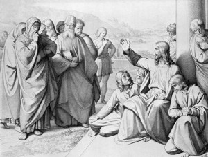 Jesus Denounces the Scribes and Pharisees - etching by Friedrich Ludy (Unknown date)