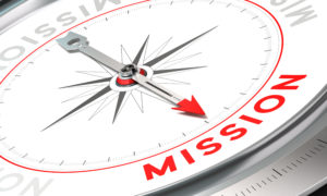 Compass with needle pointing the word mission. Conceptual illustration part one of a company statement Mission Vision and Value.