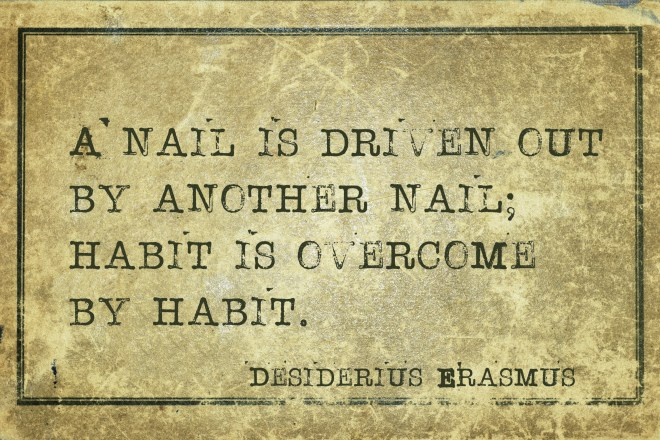 A nail is driven out by another nail; habit is overcome - ancient Dutch philosopher Desiderius Erasmus quote printed on grunge vintage cardboard