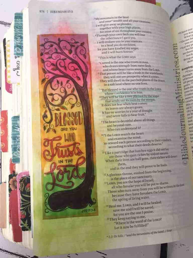 Bible Journaling Jeremiah 17:7-8