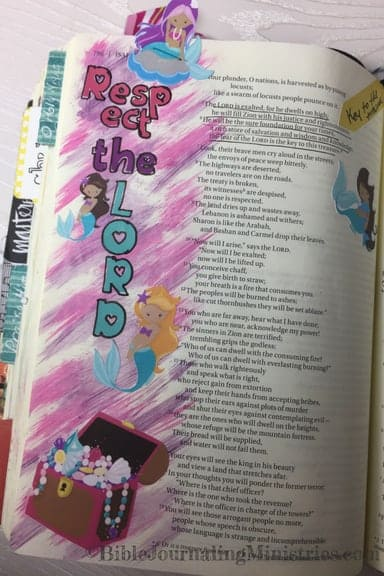 Bible Journaling With Mermaids Isaiah 33:5-6