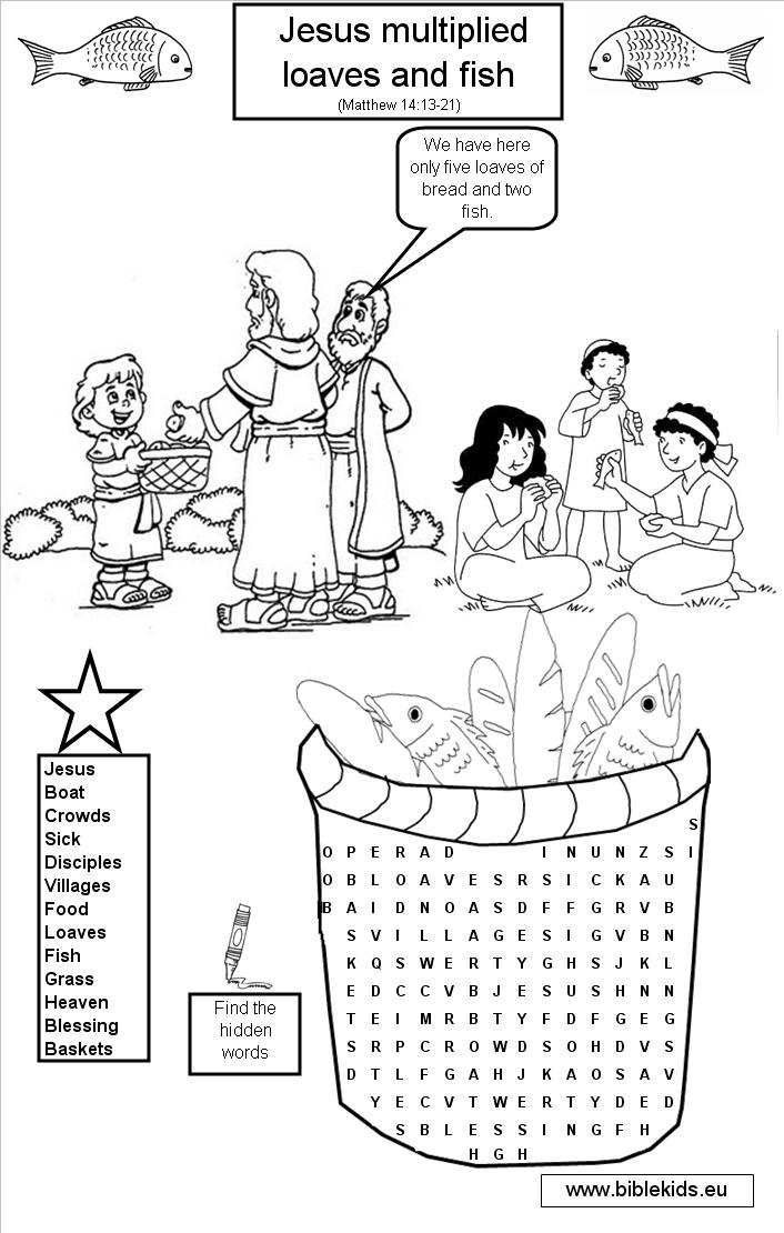 Jesus multiplied loaves and fish wordsearch puzzles