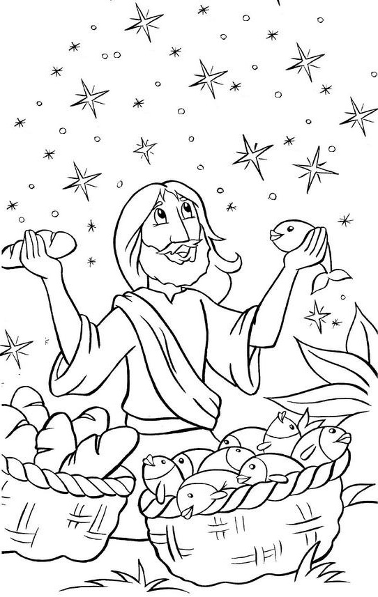 Jesus Feeds 5000 Coloring Page Coloring Pages