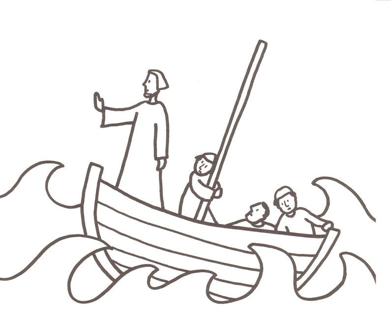 Calming The Storm Coloring Pages Coloring Pages