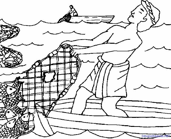 The miraculous catch of fish coloring pages