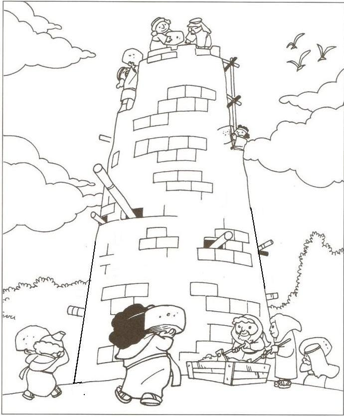 Tower Of Babel Coloring Pages For Kids Sketch Coloring Page