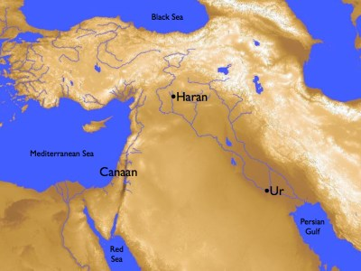 Map from Ur to Haran to Canaan