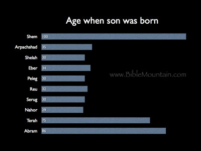 Chart of ages when son was born.
