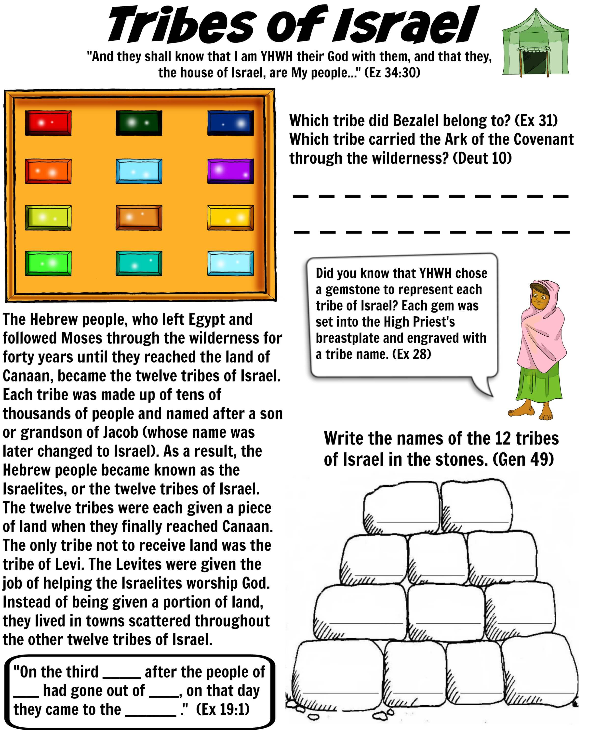 Bible Worksheet Twelve Tribes Of Israel