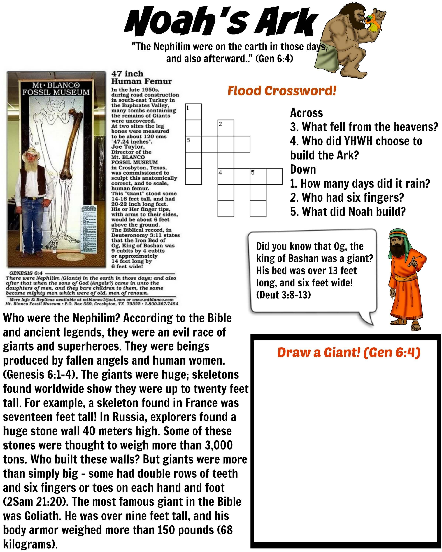 Free Bible Worksheet Nephilim Giants Noah S Ark Evidence