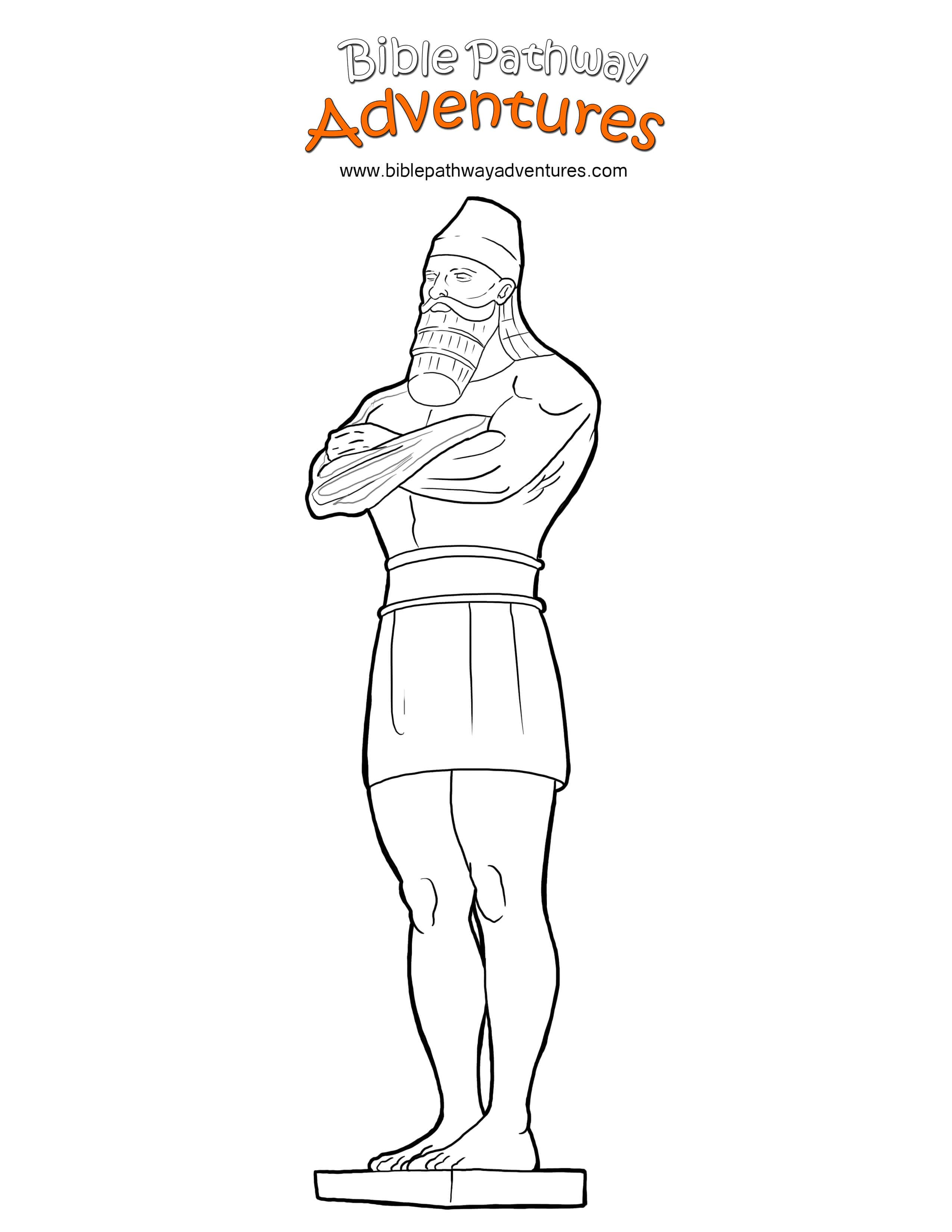 Free Bible Coloring Page King Nebuchadnezzar's Statue