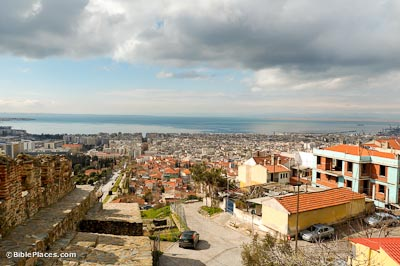Thessalonica from north with Byzantine eastern city wall