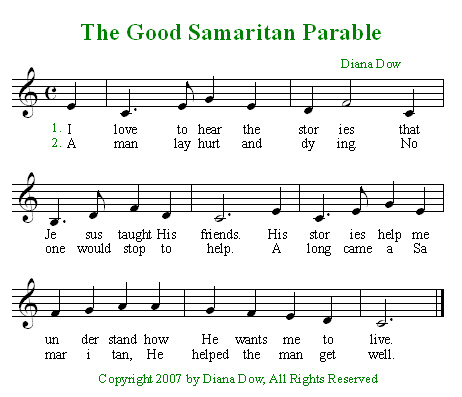 Parables of Jesus -- The Good Samaritan by Diana Dow. A song for young children.